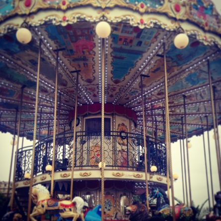 Round and round we go.  This vintage carousel stands witness to the Parisian magic happening everyday and every night.